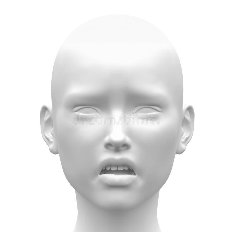 Emoção triste fêmea branca vazia da cara - vista dianteira ilustração do vetor