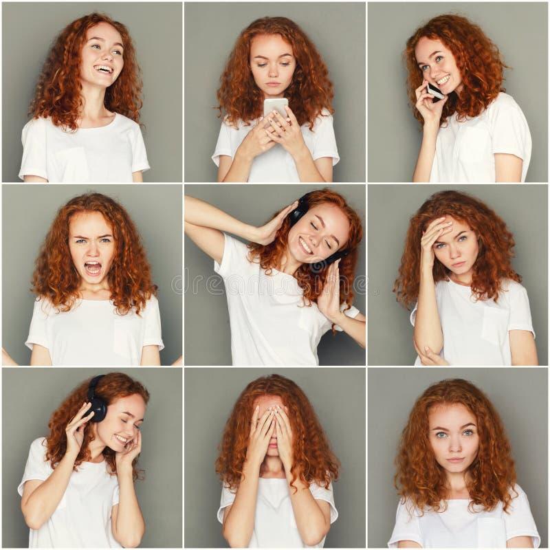 Emoções ajustadas da jovem mulher no fundo do estúdio fotografia de stock royalty free