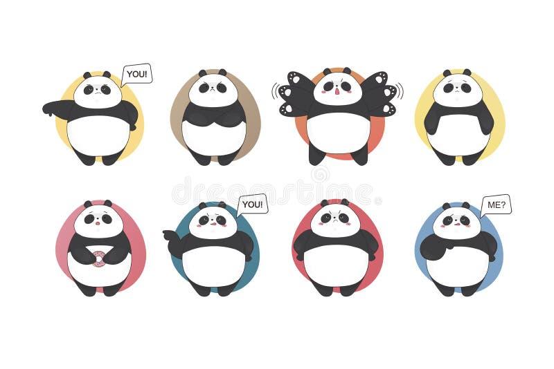 Emoções ajustadas da panda Coleção bonito do estilo dos desenhos animados do vetor Criança da garatuja ilustração stock