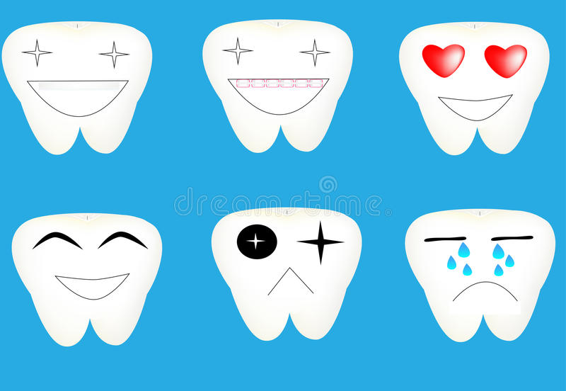 Emoções ajustadas dos dentes dos desenhos animados foto de stock