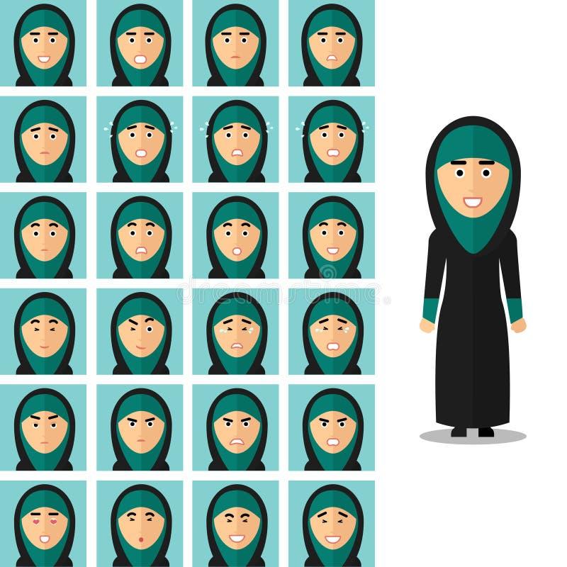 Emoções da cara da mulher árabe Vetor ajustado no plano ilustração stock