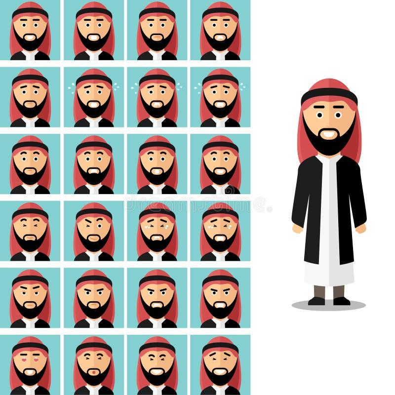 Emoções da cara do homem árabe Vetor ajustado no plano ilustração stock
