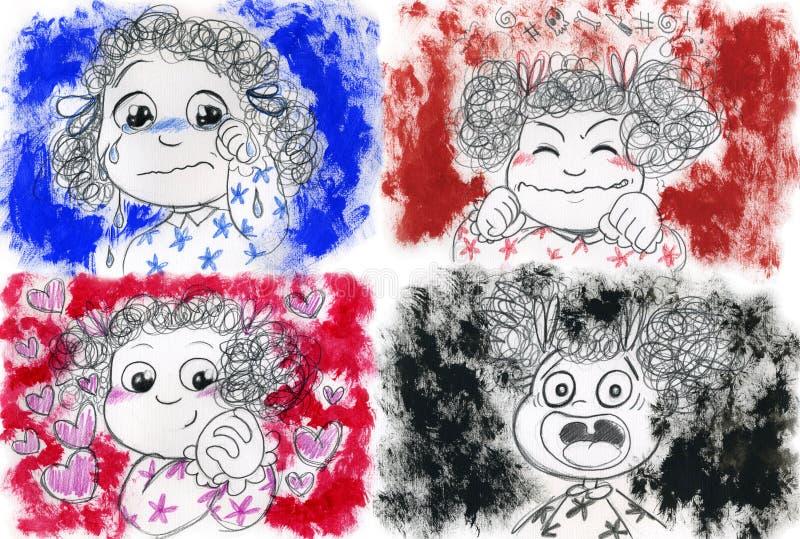 Emoções da menina ilustração stock