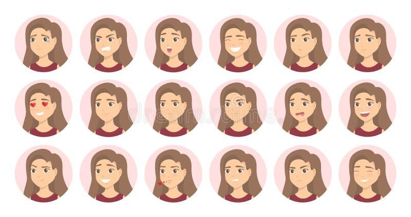 Emoções da mulher ajustadas ilustração do vetor