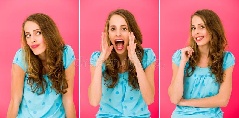 Emoções de uma menina bonita fotografia de stock royalty free