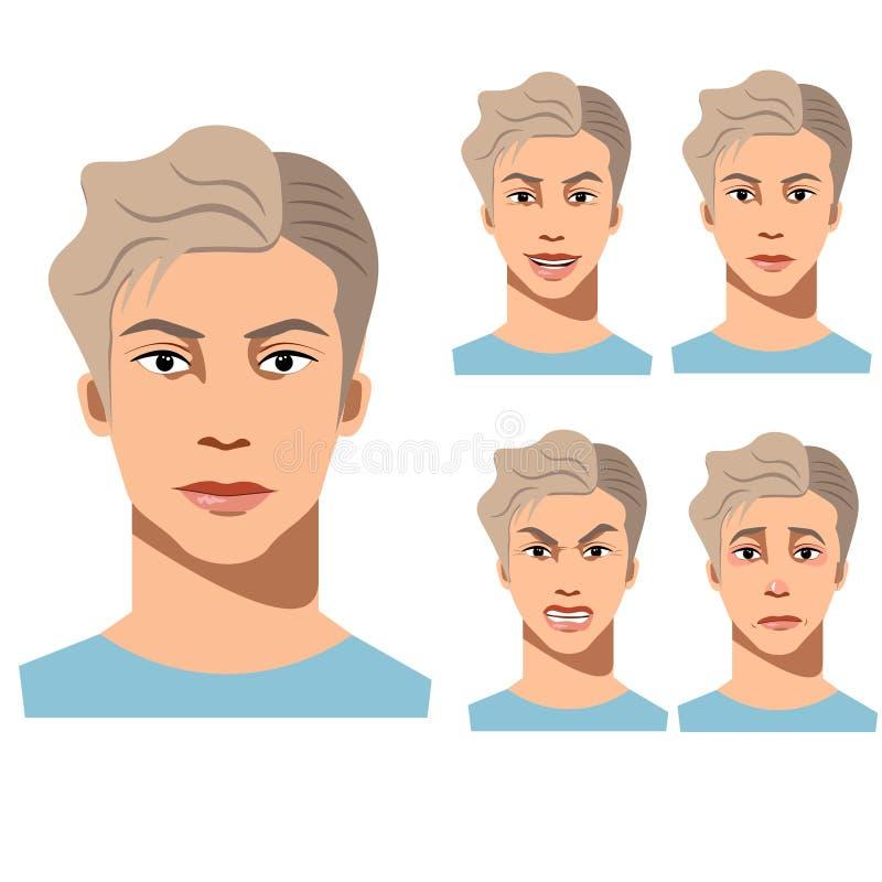 Emoções diferentes da cara do homem novo ilustração royalty free