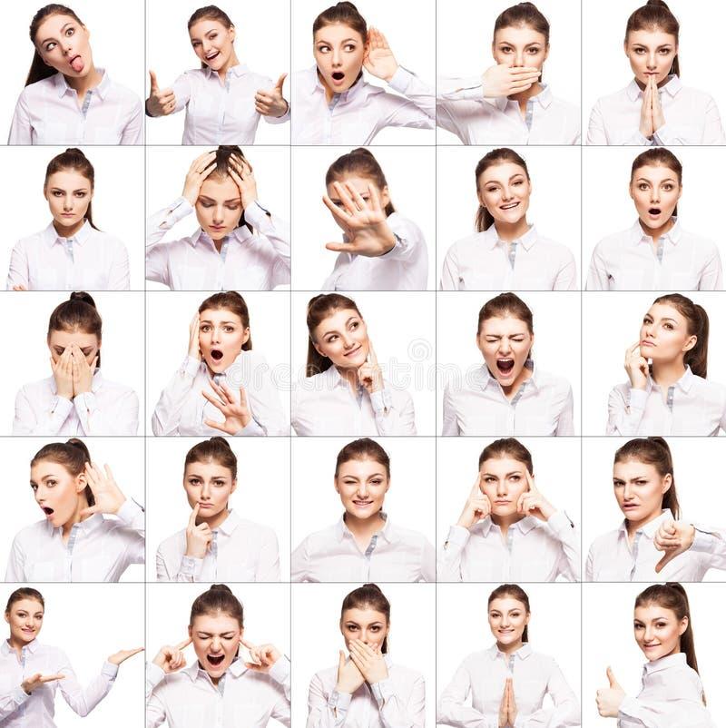 Emoções diferentes da mulher fotografia de stock