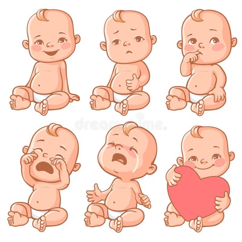 Emoções do bebê ajustadas ilustração stock
