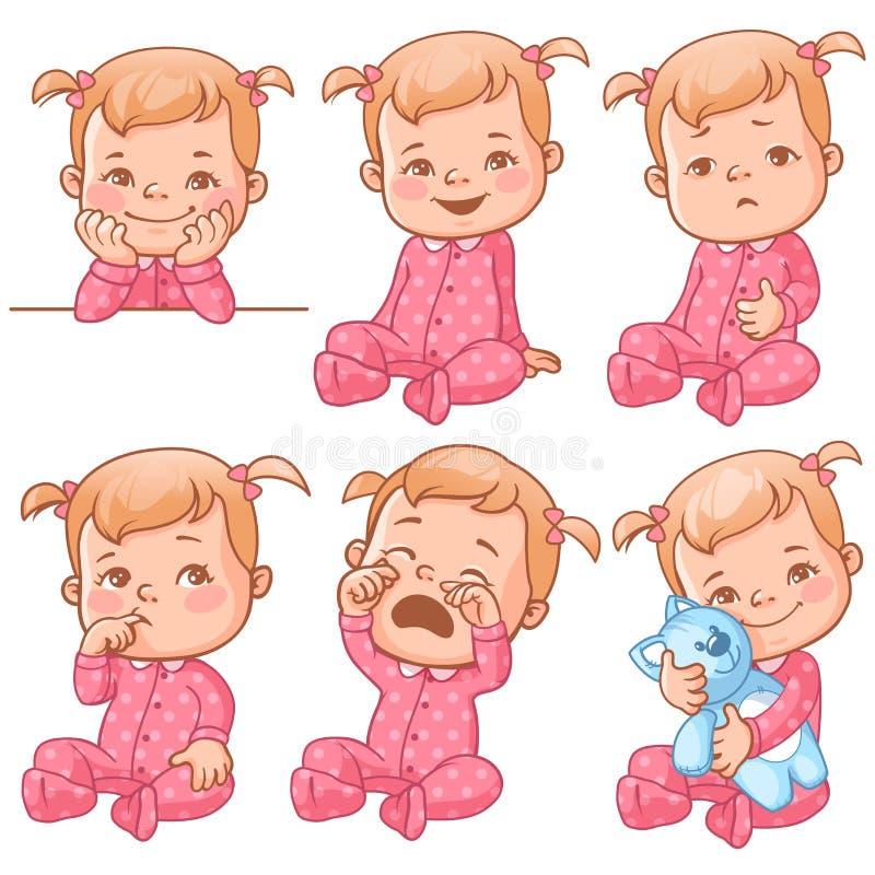 Emoções do bebê ajustadas ilustração do vetor