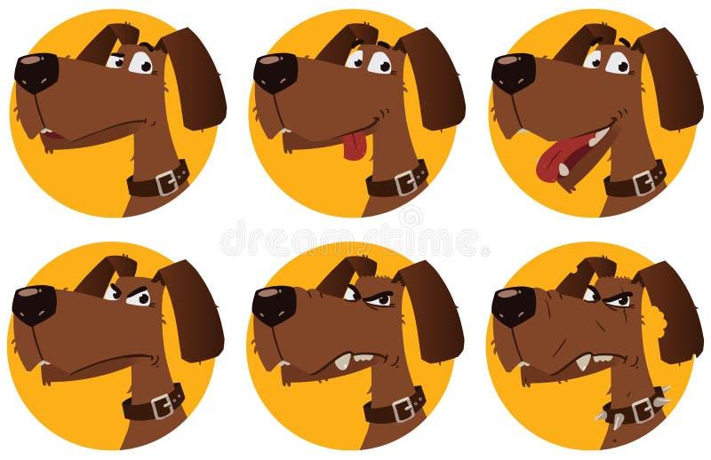 Emoções do cão dos desenhos animados ilustração royalty free
