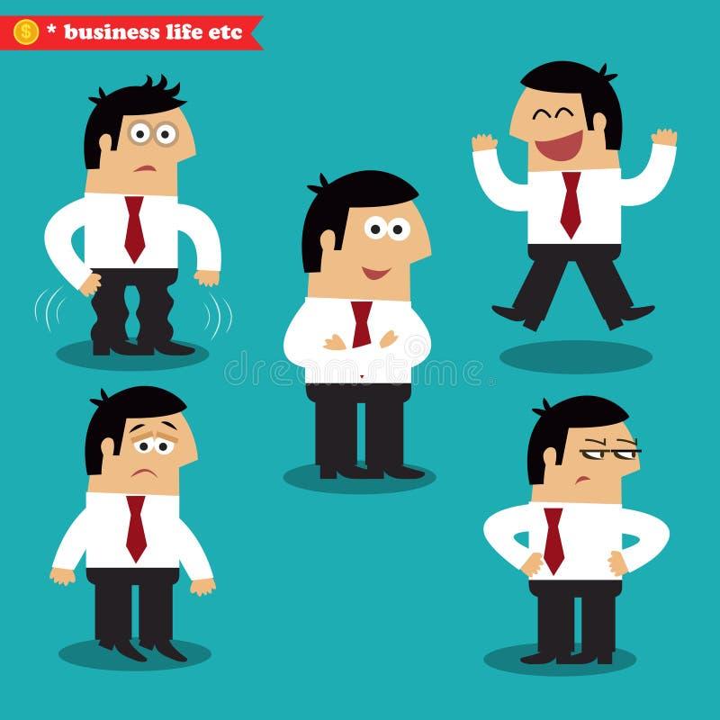 Emoções do escritório nas poses ilustração royalty free