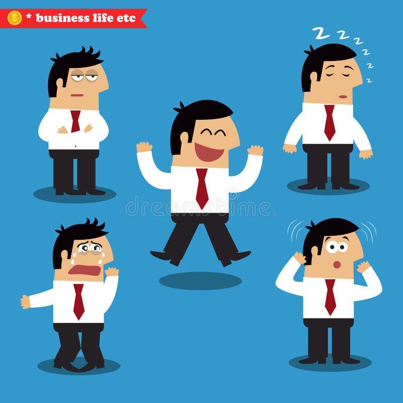 Emoções do gerente nas poses ilustração do vetor