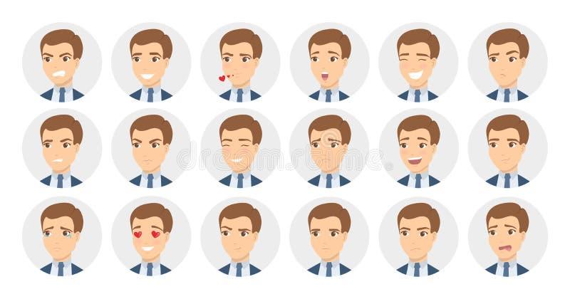 9 emoções do homem ajustadas ilustração stock