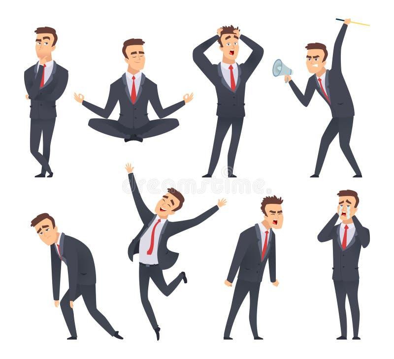 Emoções do homem de negócios Caras diferentes satisfeitas felizes de sorriso doces do tipo irritado e poses do vetor dos gestores ilustração stock