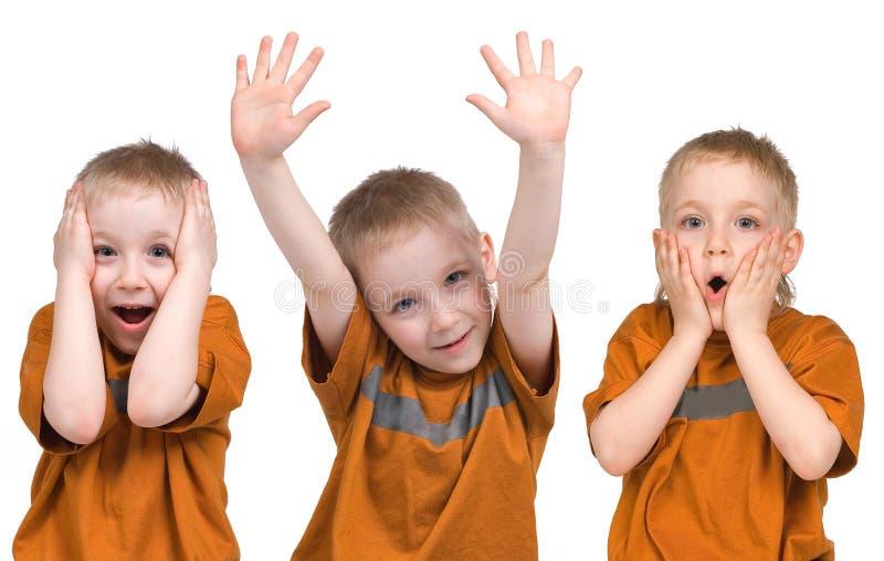 Emoções do menino imagem de stock