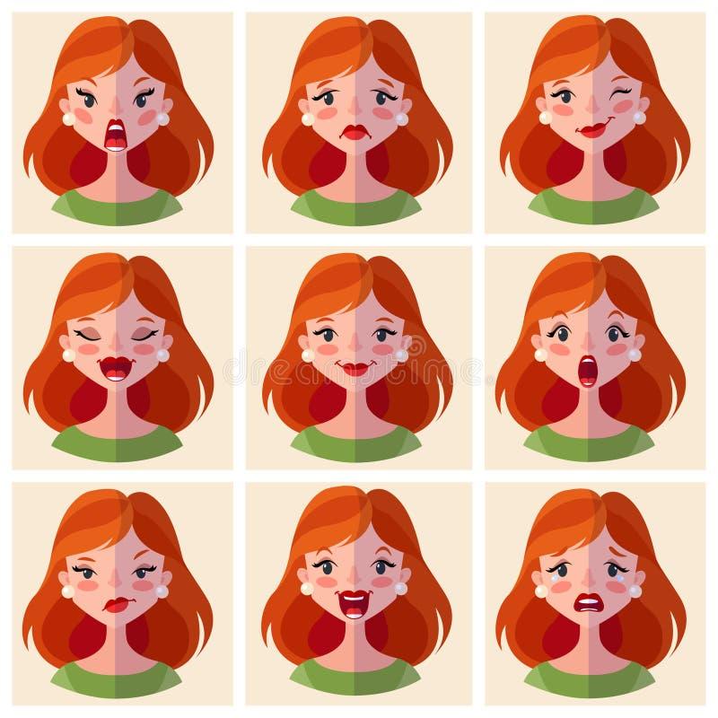 Emoções dos Avatars Ajuste uma mulher com uma variedade de emoções Cara fêmea com expressões diferentes ilustração stock
