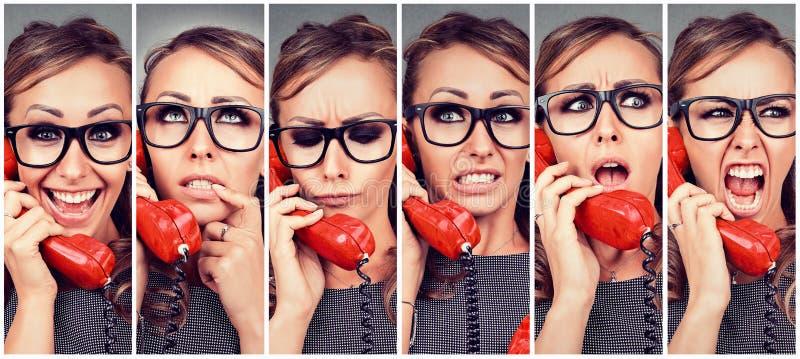 Emoções em mudança da jovem mulher de feliz a irritado ao responder ao telefone foto de stock royalty free