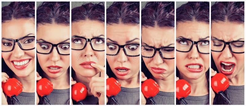 Emoções em mudança da mulher de feliz a irritado ao responder ao telefone fotos de stock royalty free