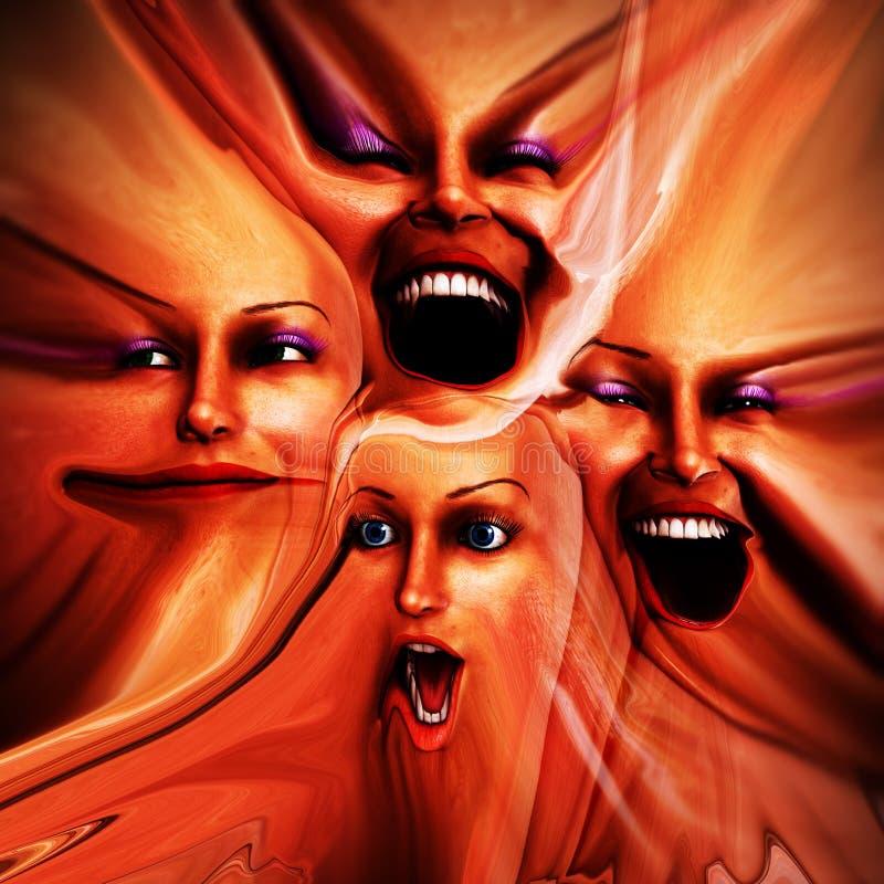 Emoções fêmeas Freaky 10 ilustração royalty free