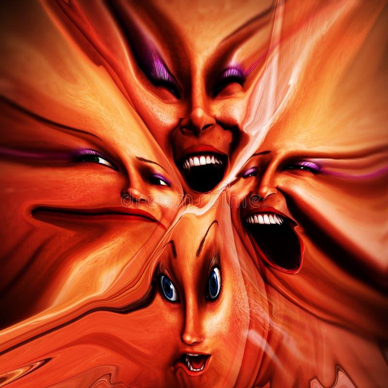 Emoções fêmeas Freaky 12 ilustração royalty free