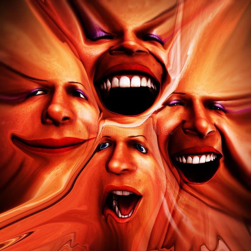 Emoções fêmeas Freaky 14 ilustração do vetor