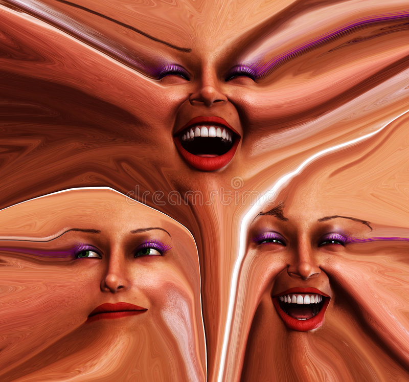 Emoções fêmeas Freaky 2 ilustração royalty free