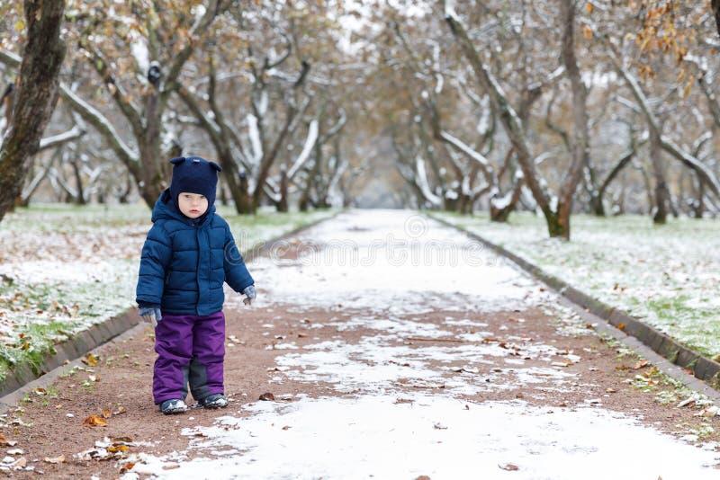 Emoções na opinião, na confusão e na tristeza do ` s da criança nos olhos da criança outono atrasado e a primeira neve no parque fotografia de stock royalty free