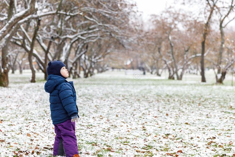 Emo??es na opini?o, na confus?o e na tristeza do ` s da crian?a nos olhos da crian?a outono atrasado e a primeira neve no parque imagens de stock royalty free