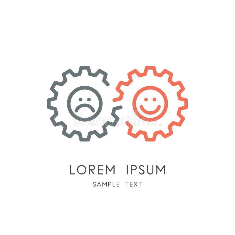 Emoções positivas e negativas do logotipo da mudança do humor - ilustração royalty free