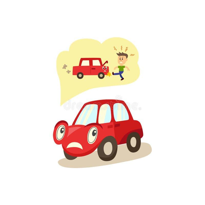 Emoções worryed caráter do carro dos desenhos animados do vetor ilustração stock