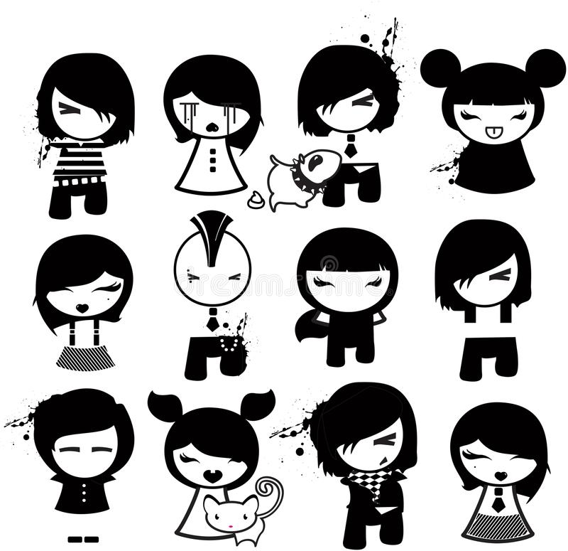 Download Emo characters stock vector. Image of white, illustration - 10655686