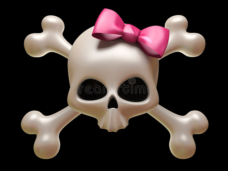 Emo design. Skull with pink bow isolated on black background