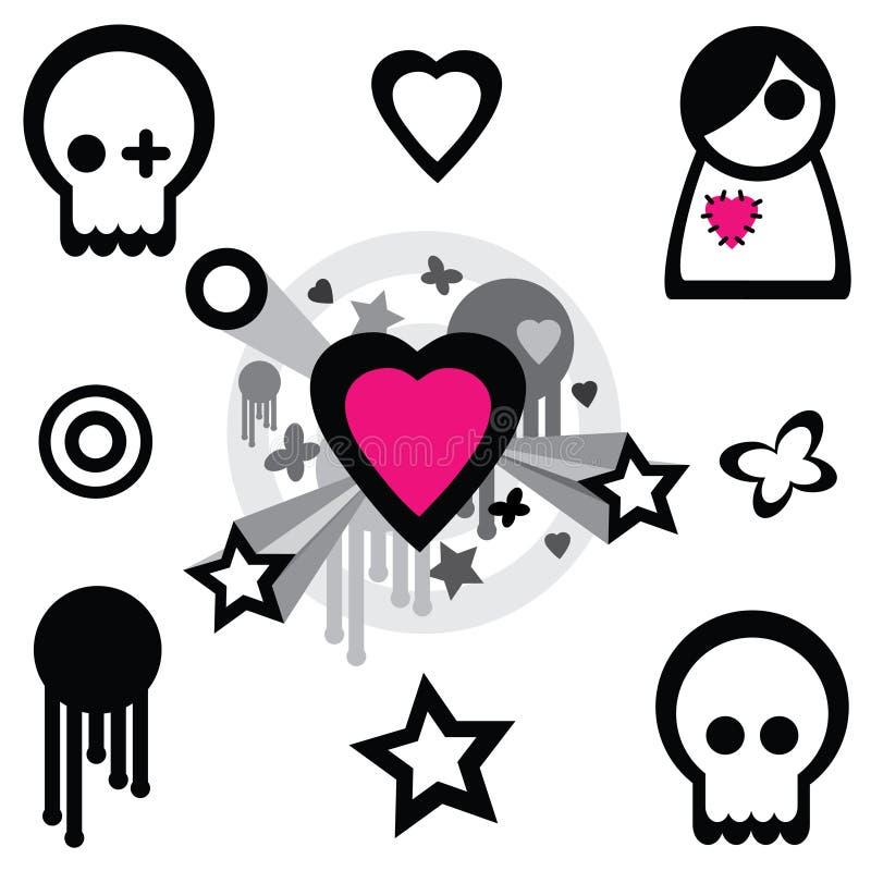 Emo design elements royalty free illustration