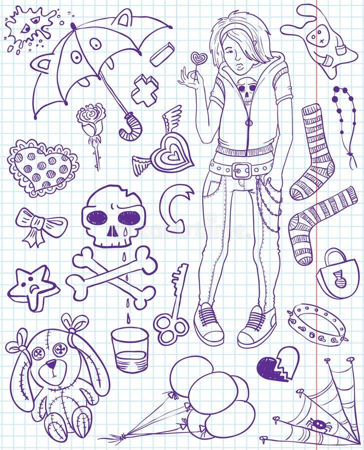 Download Emo doodles stock image. Image of love, crossbones, lock - 14300971
