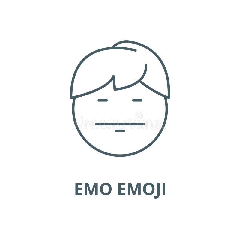 Emo emoji line icon, vector. Emo emoji outline sign, concept symbol, flat illustration. Emo emoji line icon, vector. Emo emoji outline sign, concept symbol vector illustration