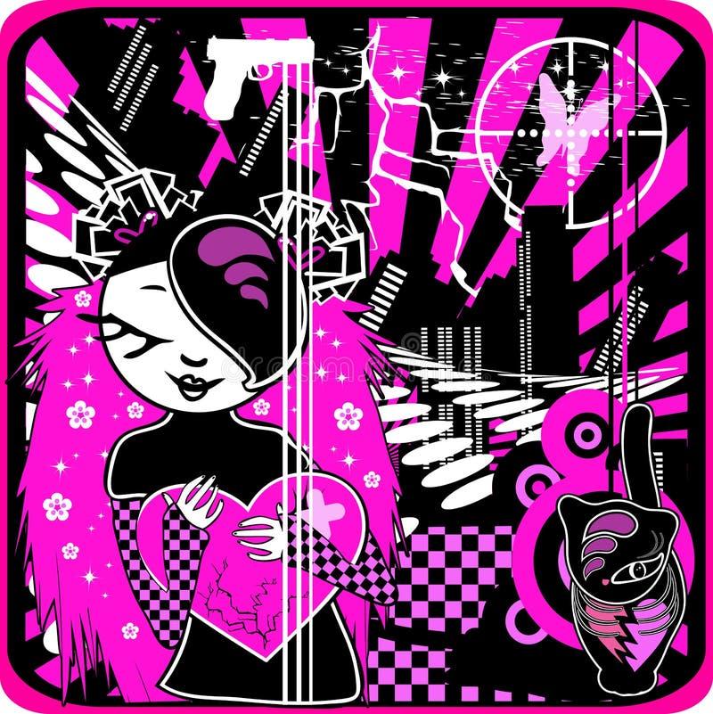 Emo et coeur illustration de vecteur