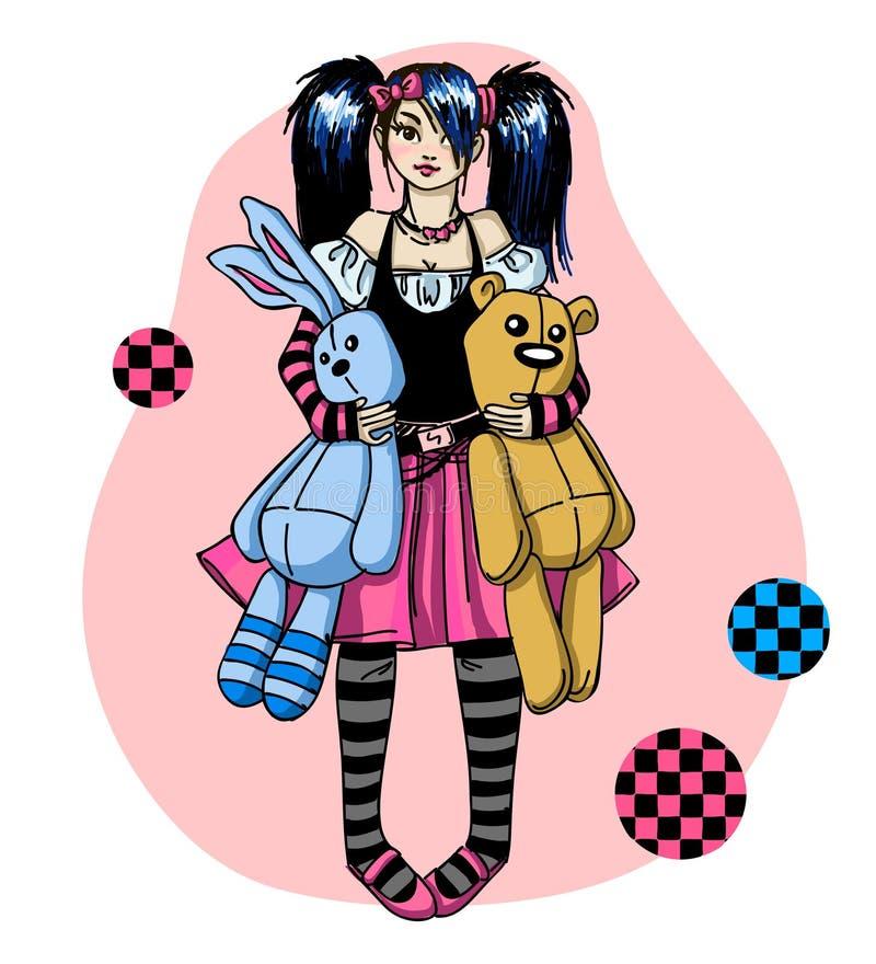 Emo flicka med toys royaltyfri illustrationer