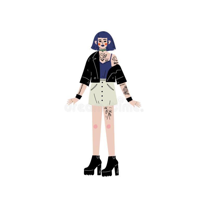 Emo Girl avec le tatouage, personnage féminin aimant son corps, acceptation d'individu, diversité de beauté, vecteur positif de c illustration stock