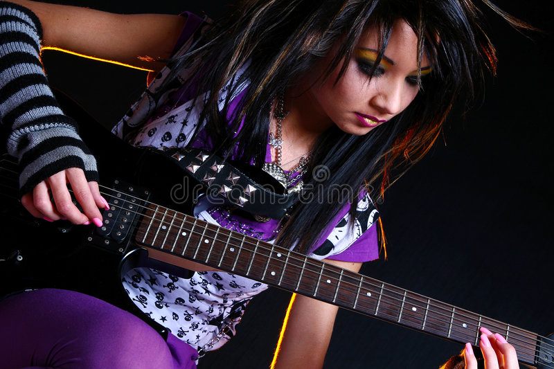 Download Emo Girl And Electro Guitar Stock Photo - Image: 7801262