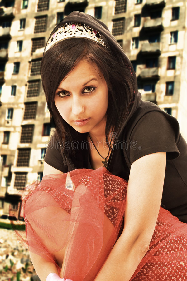 Emo girl portrait royalty free stock photo