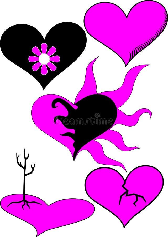 Emo Heart Set Royalty Free Stock Photography