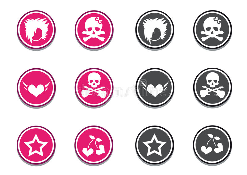 Emo Icon Set stock illustration