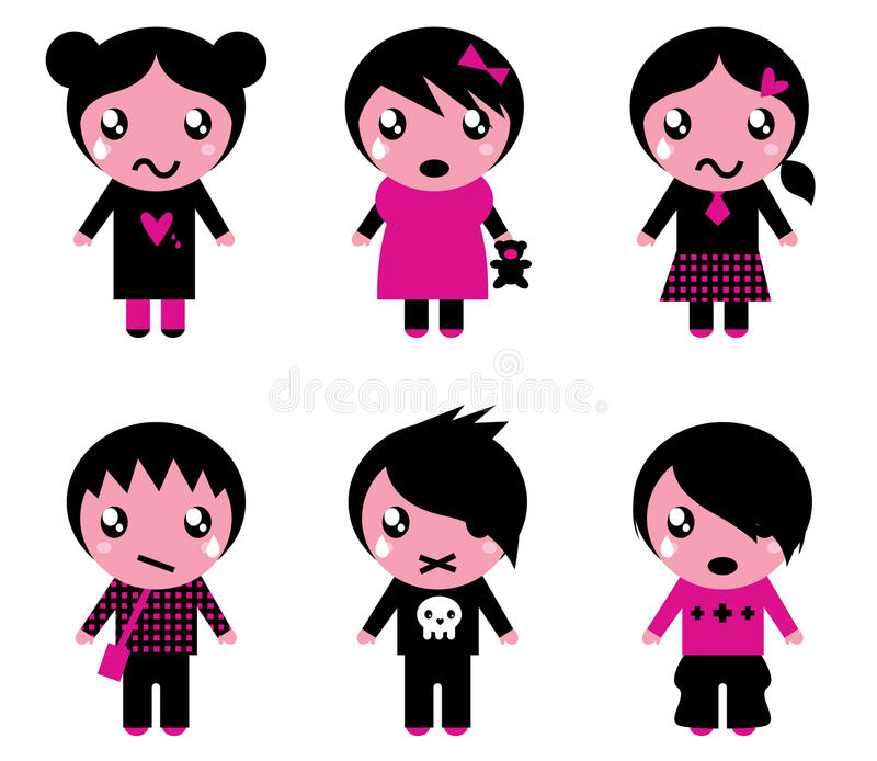 Emo kids cute collection vector illustration