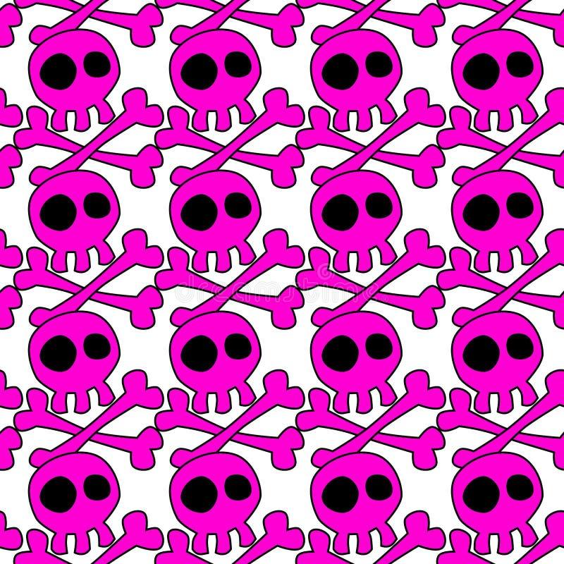 Emo Skeletons Seamless Background cor-de-rosa ilustração do vetor