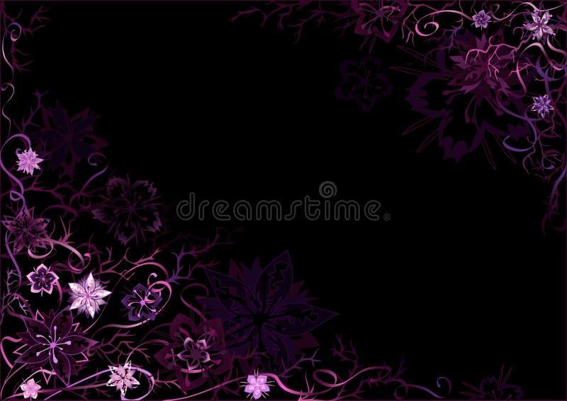 Emo Styled Black-and-violet Floral Backg Stock Image