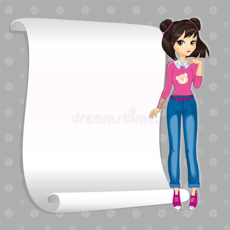 Emo szkoły dziewczyna Z sztandarem royalty ilustracja