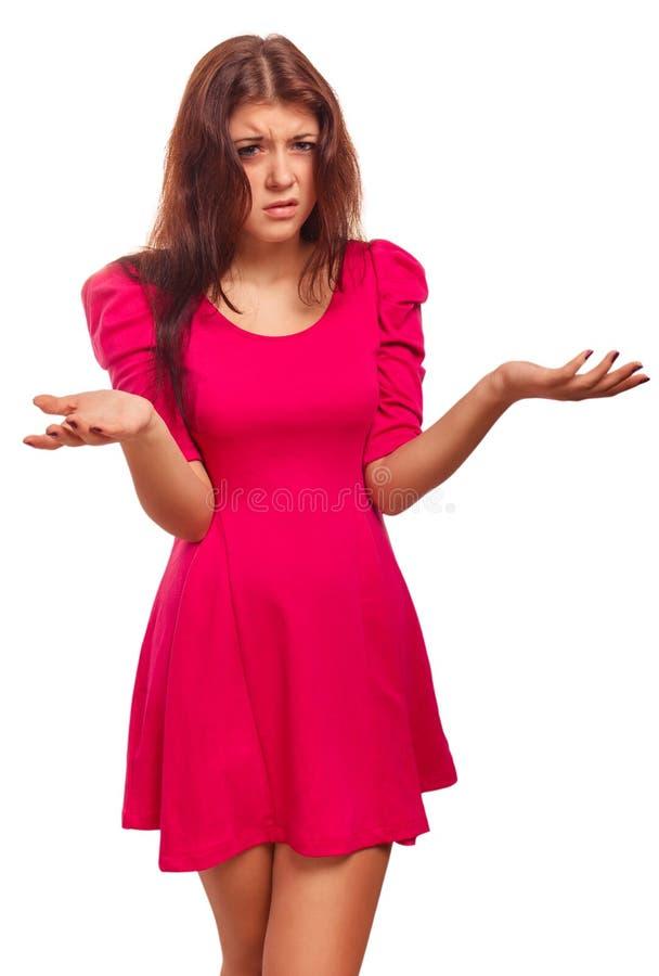Emoción cabelluda descontenta enojada de la camisa de la mujer fotografía de archivo libre de regalías
