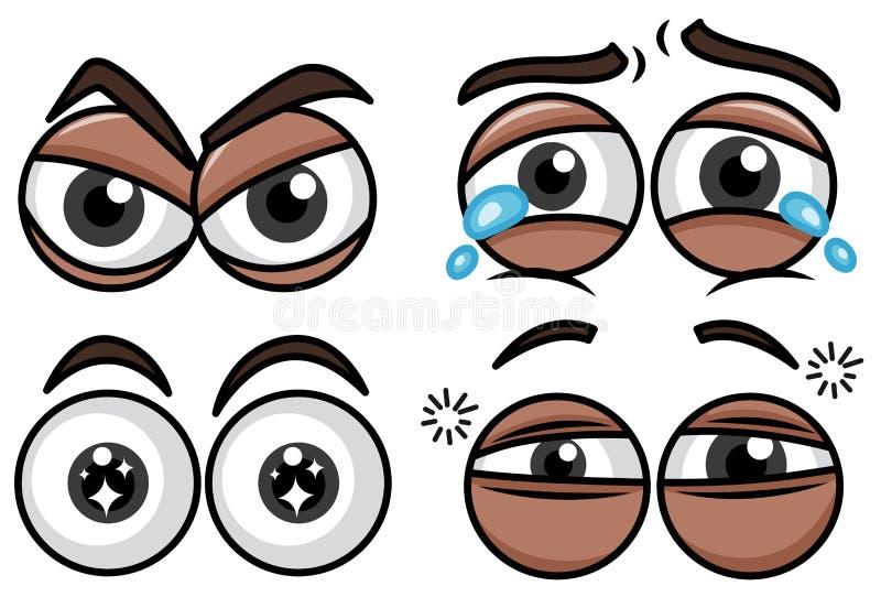 Emoción de cuatro diversa ojos en el fondo blanco stock de ilustración