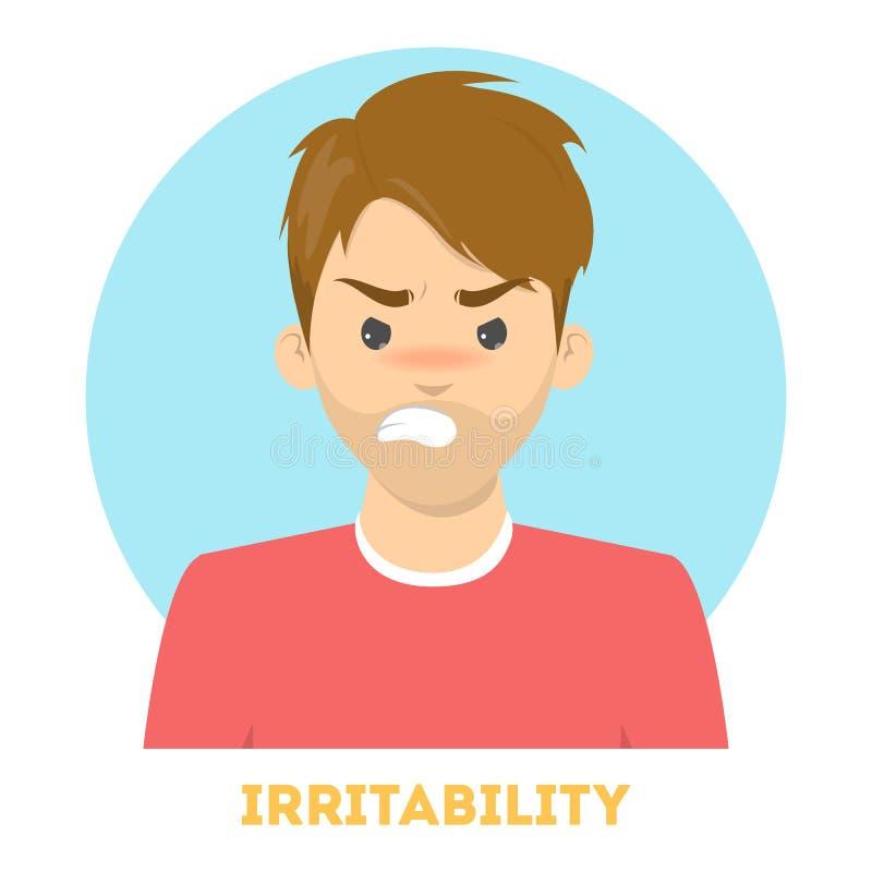 Emoción de la irritabilidad Carácter irritado enojado, expresión facial stock de ilustración