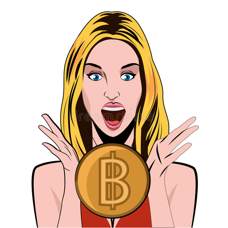 Emoción de la muchacha de Bitcoin del bitcoin de la alegría Ilustración conceptual del vector libre illustration